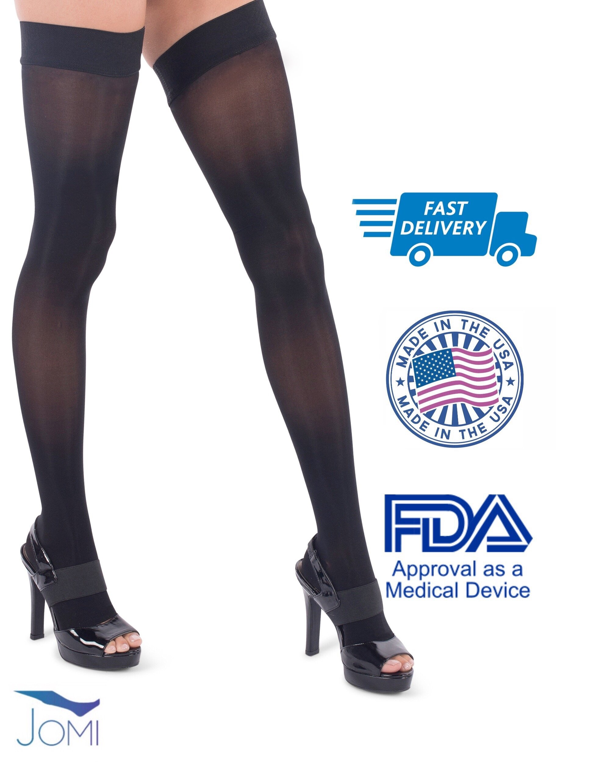 Jomi Compression, Unisex, Thigh High Stockings Collection, 15-20mmHg Sheer Open Toe 152 (Large, Black) by JOMI COMPRESSION