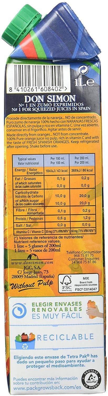 Don Simon - Zumo de Naranja, 1 L Brik Exprimido S/Pulpa: Amazon.es: Alimentación y bebidas