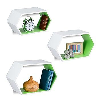 Relaxdays Wandregale Sechseckig 3er Set Hängend Ausgefallen Dekorativ Montagematerial Kinderzimmer Mdf Weißgrün