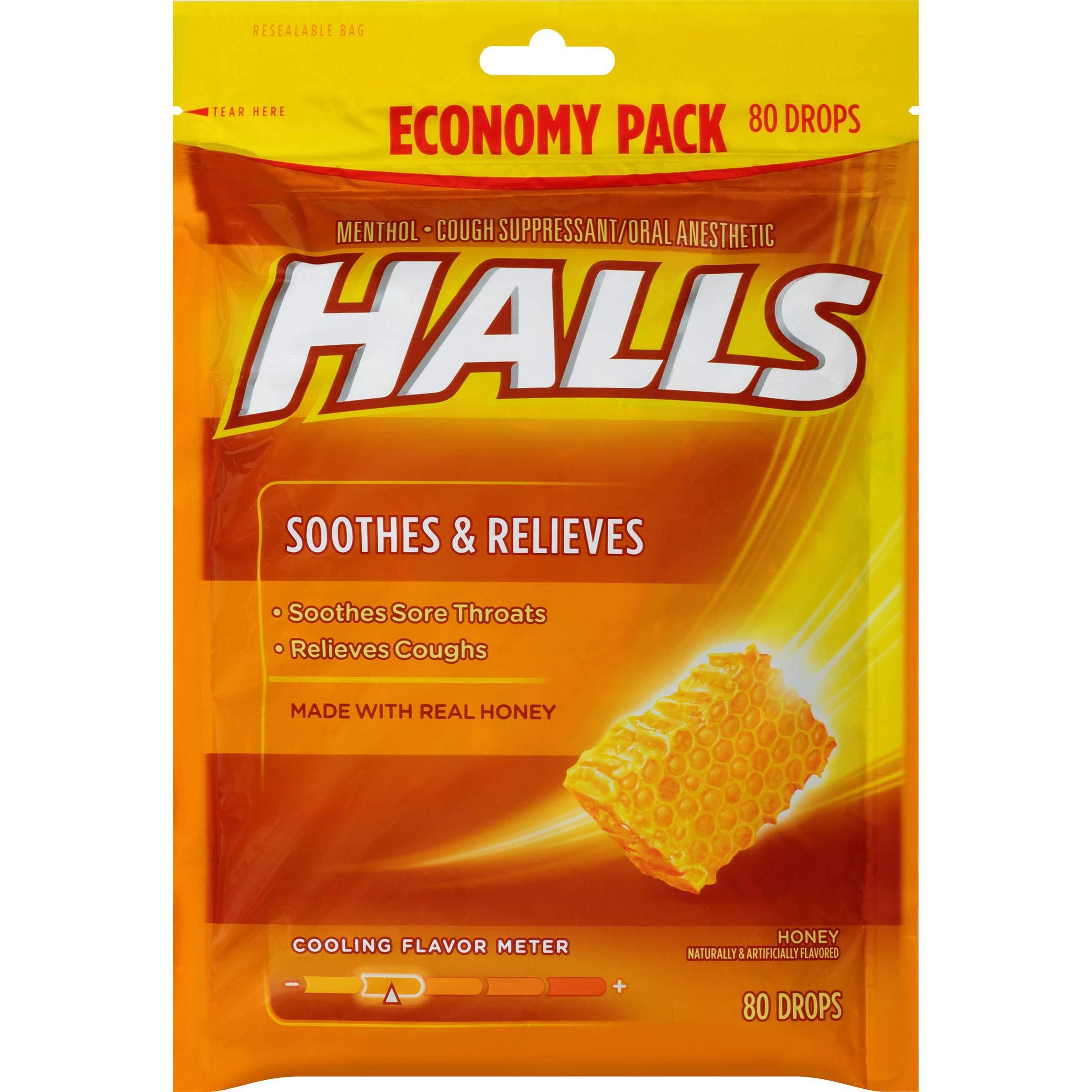 Halls Honey Cough Drops - with Menthol - 960 Drops (12 bags of 80 drops) by Halls