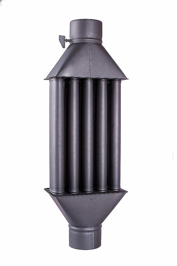 Intercambiador de calor de chimenea Diplomat intercambiador de aire caliente, enfriador de gas de escape negro, diámetro de 130mm, 5 tubos con amortiguador: ...