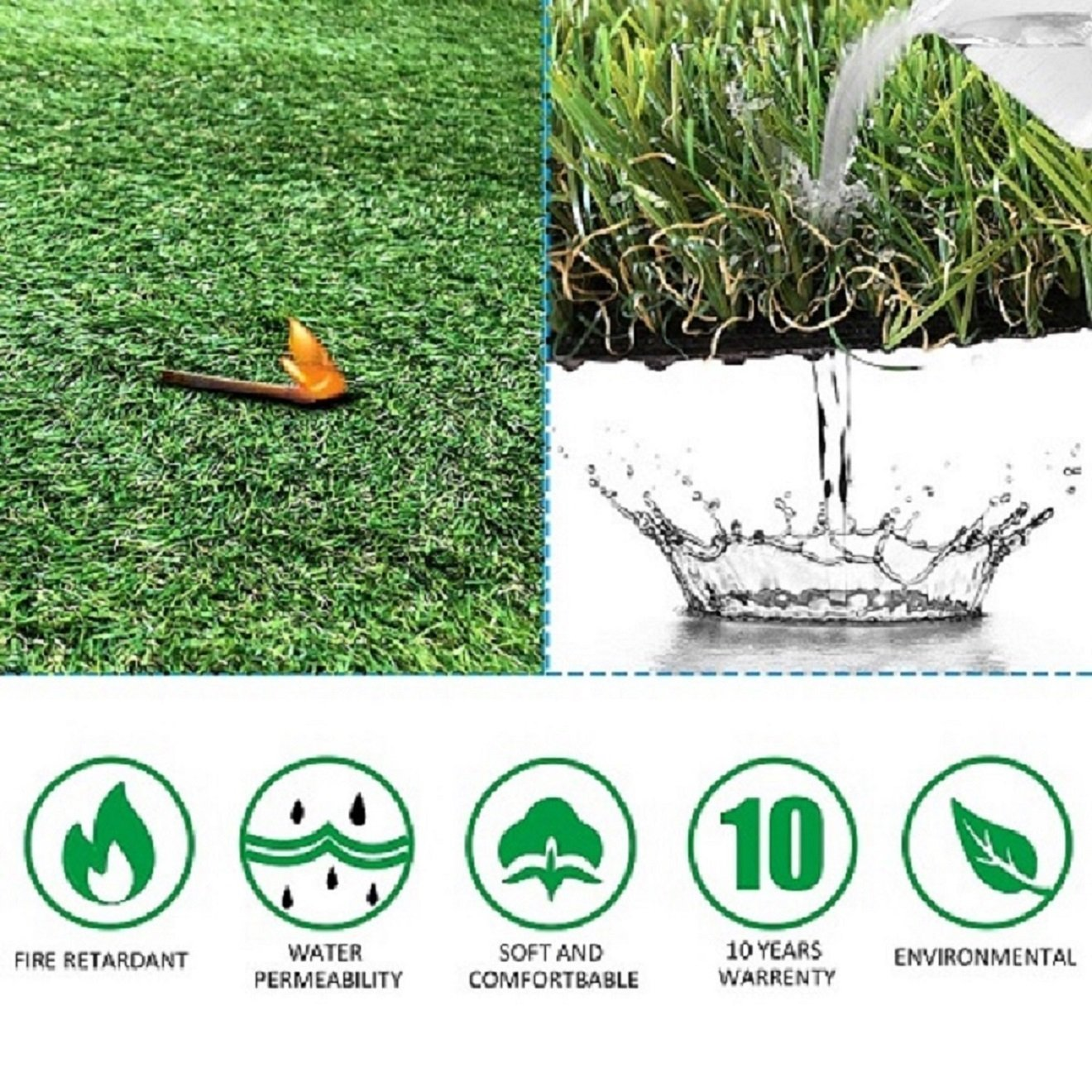 Indoor Outdoor Garden Lawn Landscape Balcony Synthetic Turf Mat Thick Fake Grass Pet Pad Sample Size Artificial Grass Turf 1FTX1FT