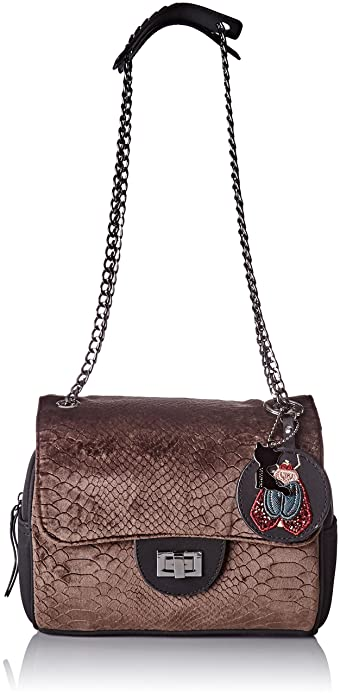Lollipops Femme Alix Velvet Chain Side Sac porte epaule (Brown) 6sMud9gTcb