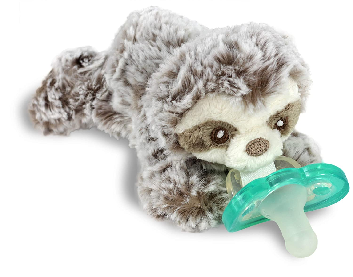 RaZbaby RaZbuddy JollyPop Pacifier Holder w/Removable Baby Pacifier - 0m+ - BPA Free - Sloth