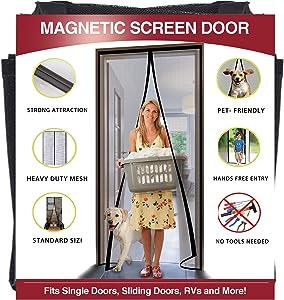 YUFER Magnetic Screen Door 38×82 Inch Reinforced Fiberglass Mesh Curtain Patio Door Screen Full Frame with Hook&Loop - Fits Door Size up to 38''x82'' Max