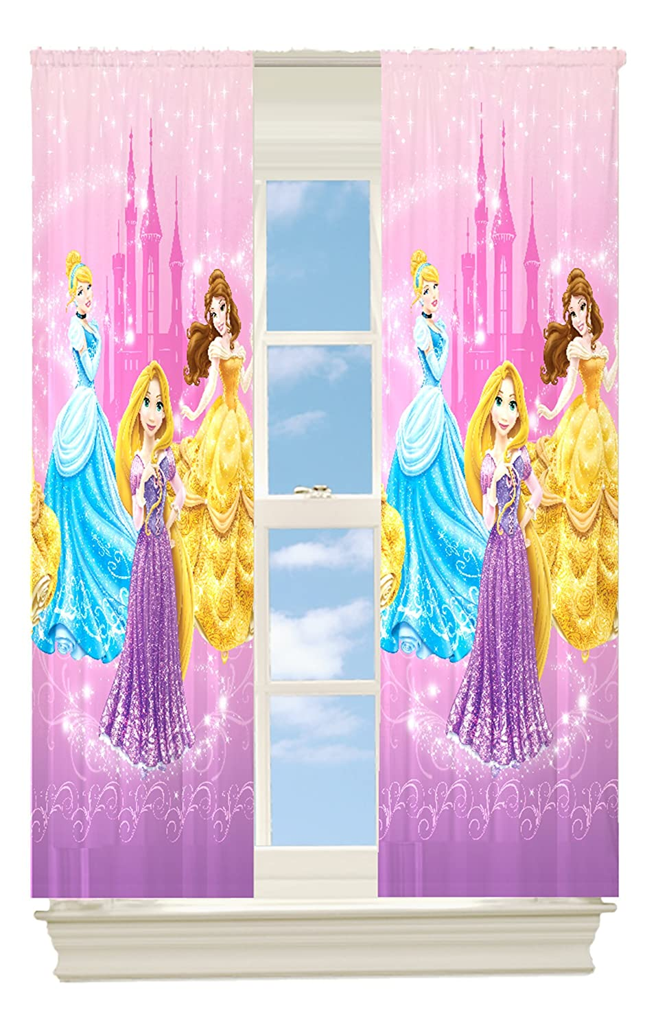 Amazon.com: Disney Princesses Grand Beauty Room Darkening Panel ... for Window With Curtains Illustration  45jwn