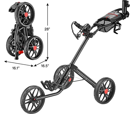 CaddyTek Caddylite 15.3 V2 – Deluxe Quad-Fold Golf Push Cart
