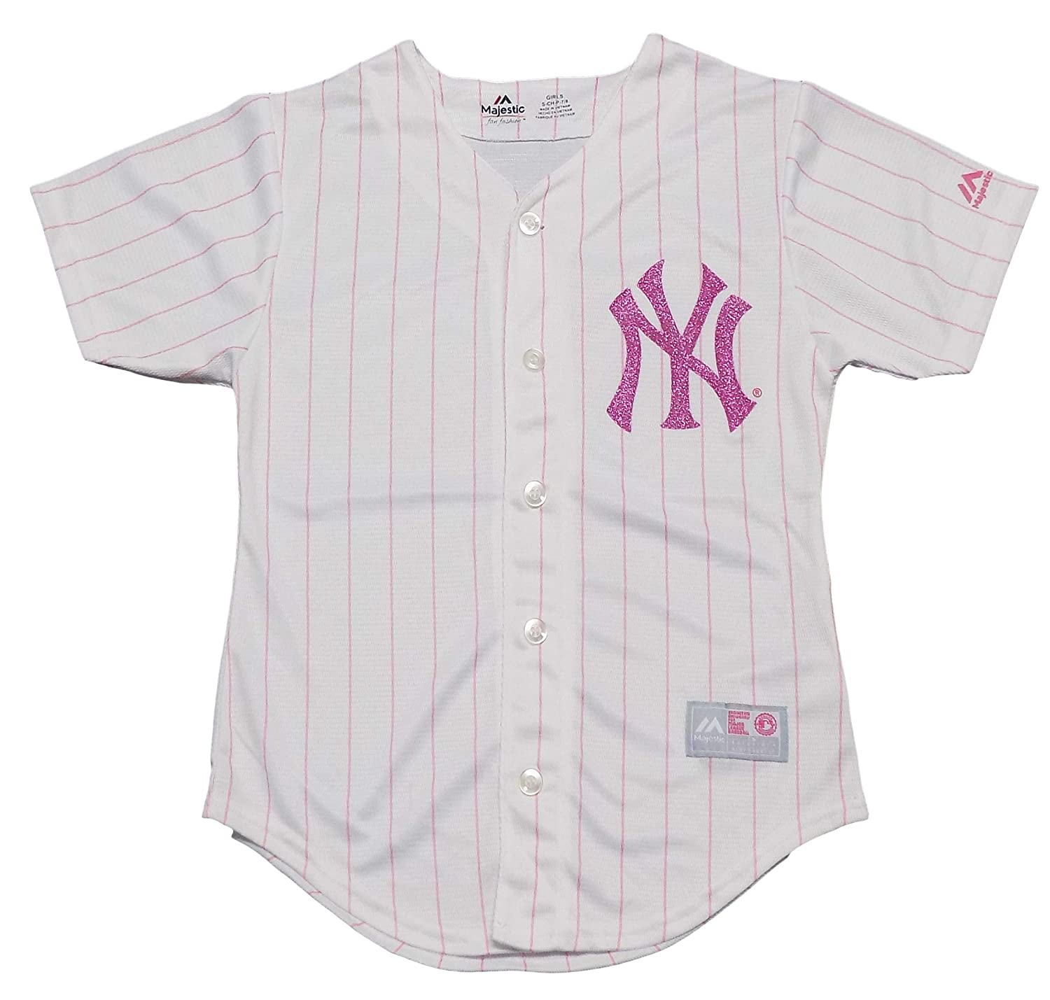 Amazon.com  Outerstuff New York Yankees Blank Girls Youth White Pink Cool  Base Jersey  Clothing bc6348555e6