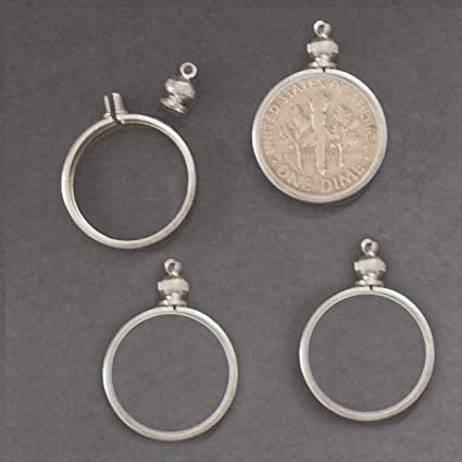 TWO SILVER PLATED SCREW TOP COIN HOLDER  BEZEL BUFFALO NICKEL 5 CENTS
