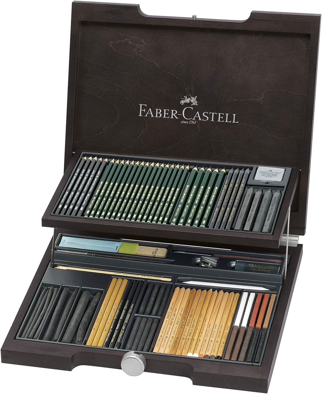 Faber-Castell 112971 - Estuche de madera Pitt monochrome con 86 piezas selección de ecolápices, tizas, carboncillos y grafitos con accesorios: Amazon.es: Oficina y papelería