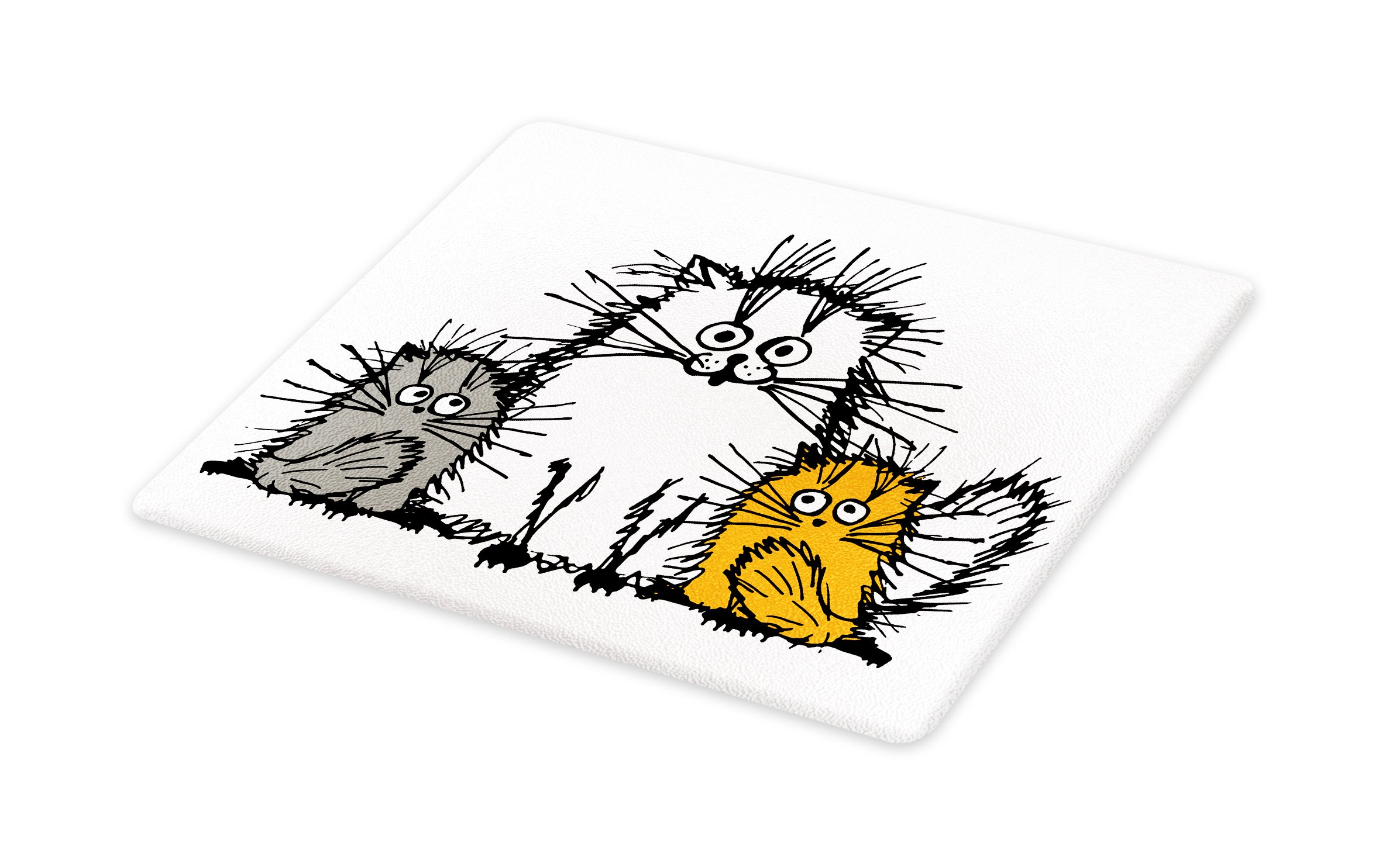 Lunarable Sketchy Cutting Board, Cute Fluffy Cat Family with Mother Babies Feline Animal Humor Illustration, Decorative Tempered Glass Cutting and Serving Board, Small Size, Orange White Grey
