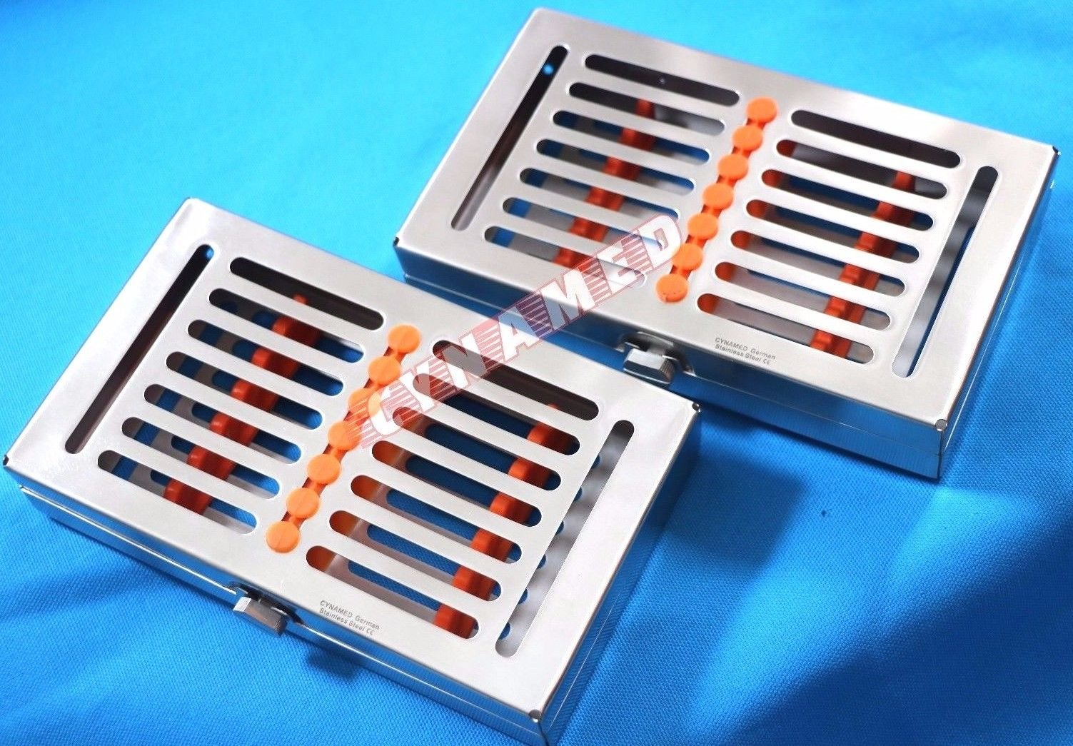 GERMAN STAINLESS 2 HEAVY DUTY DENTAL AUTOCLAVE STERILIZATION CASSETTE BOX TRAY FOR 7 INSTRUMENT-A+QUALITY BUTTON TYPE ( CYNAMED BRAND )