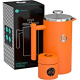 Large Stainless Steel Cafetiere Coffee Maker - Vacuum Insulated French Press - With Mini Storage Canister - By Coffee Gator - 1 litre, Orange