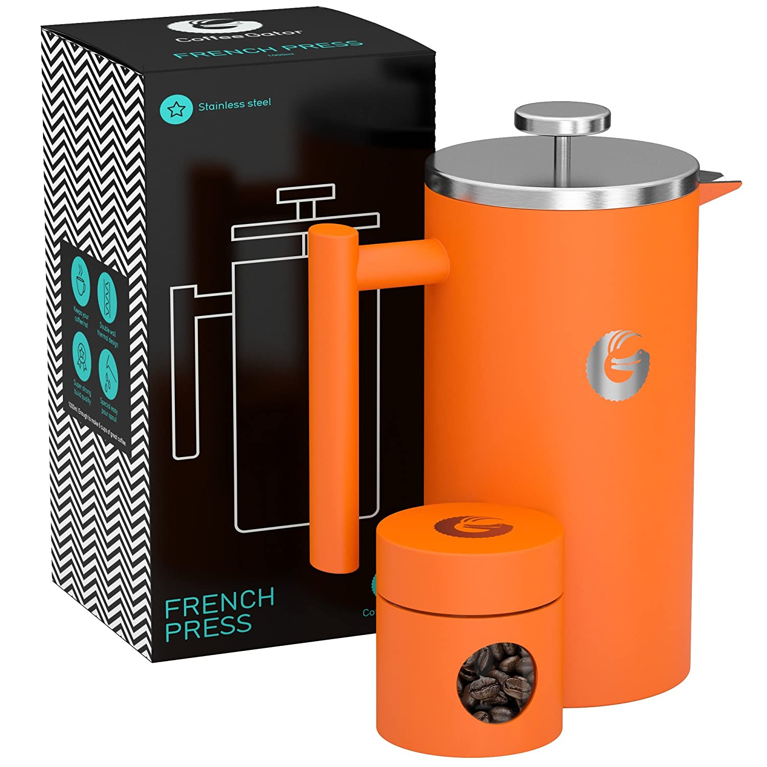 Large Coffee Press Brewer – Vacuum Insulated Stainless Steel, Orange, 34 Ounce