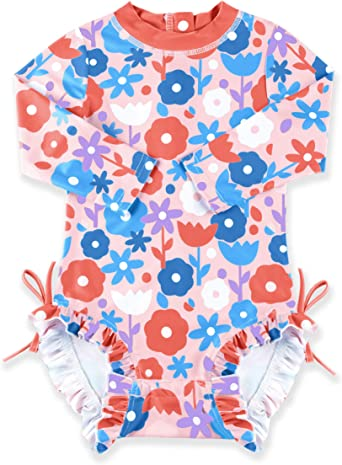 Baby Girl Toddler Swimsuit Long Sleeve with UPF 50 Sun Protection