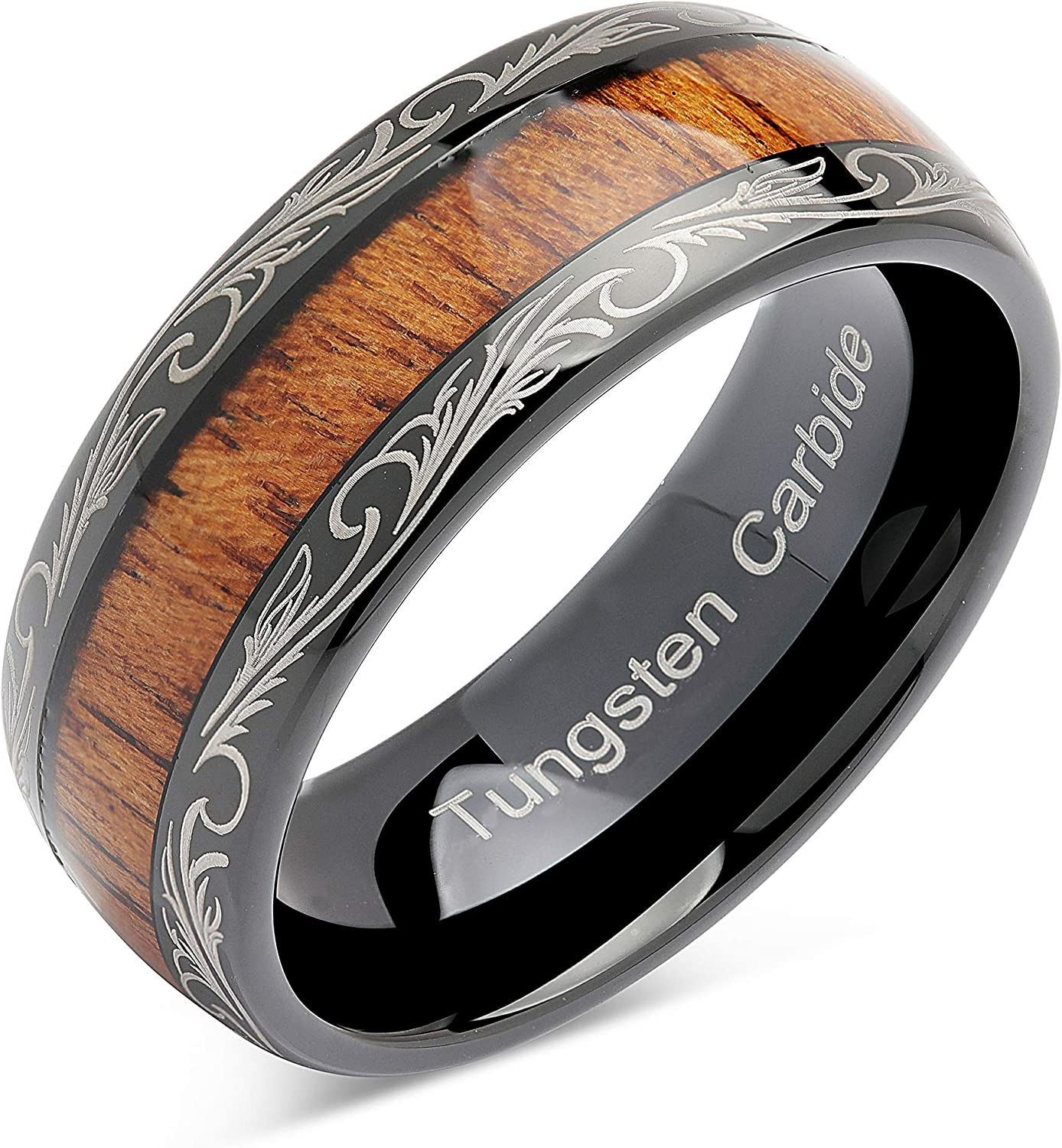 100S JEWELRY Tungsten Rings for Men Wedding Band Koa Wood Inlaid Dome Edge Comfort Fit Size 6-16