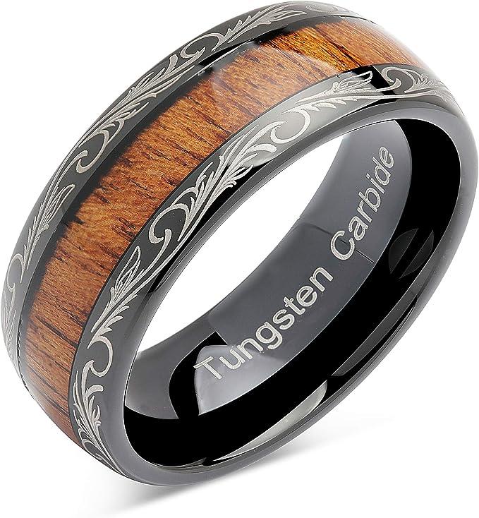 Mens Tungsten Ring Tungsten Ring Silver Tungsten Ring Real Koa Wood Tungsten Ring Mens Tungsten Wedding Bands UnityRingDesigns