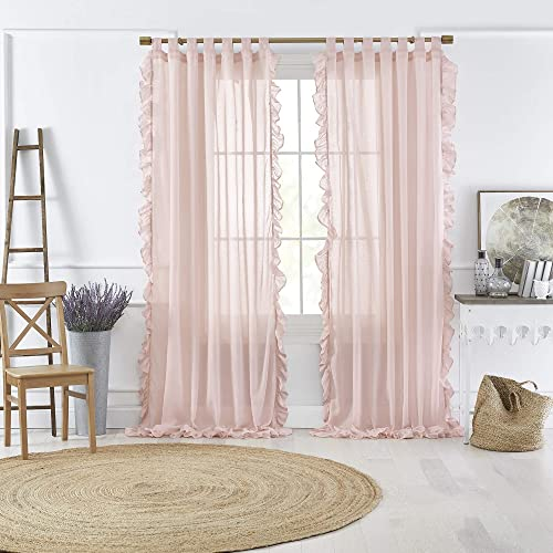 Elrene Home Fashions Bella Tab-Top Ruffle Sheer Window Curtain Panel for Living, Dining Room, Bedroom, 52 x 95 1, Pale Pink