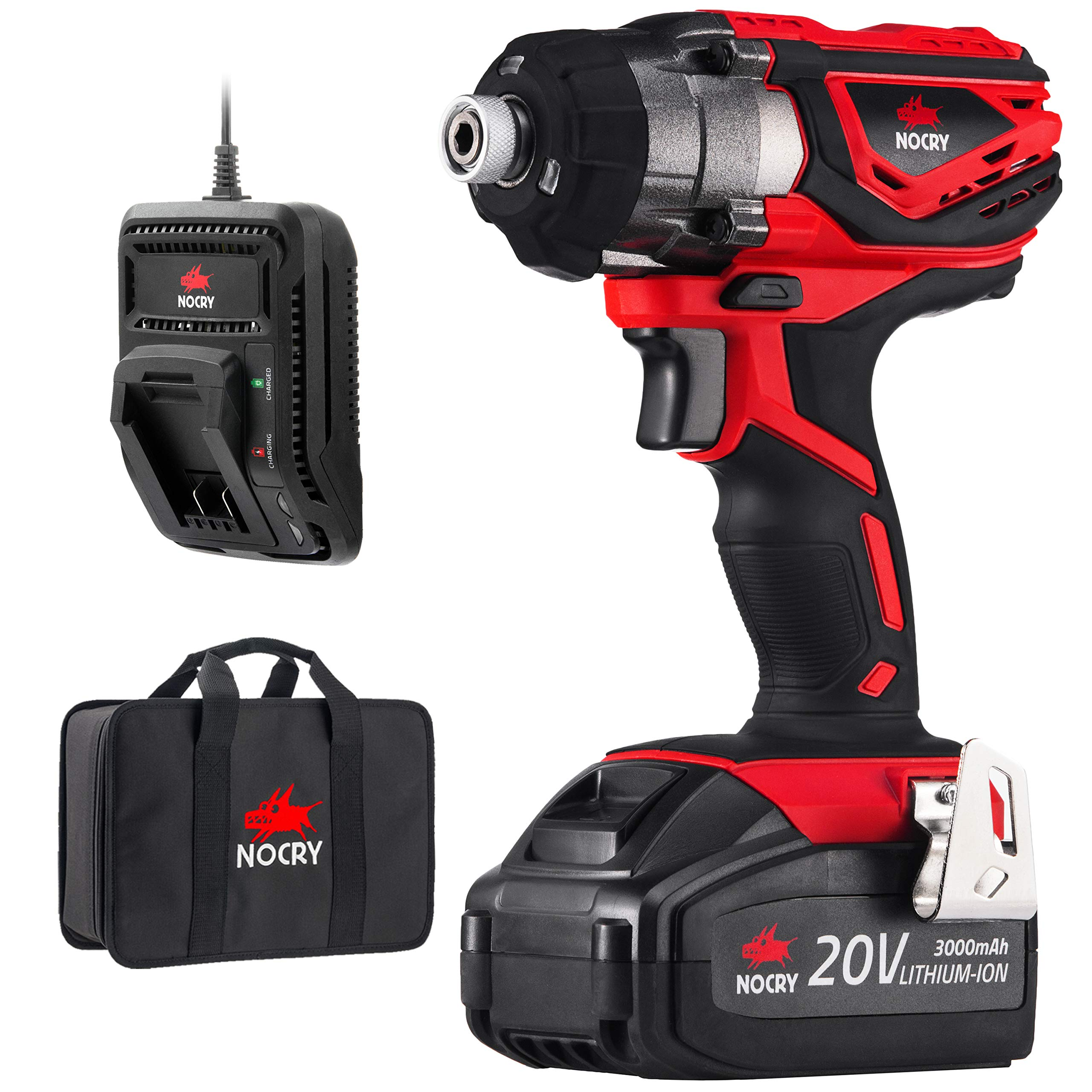 NoCry 20V Cordless Impact Driver Kit - 120 ft-lb (160 N.m) Torque, 3000 Max RPM/IPM, 1/4 inch Hex Chuck, LED Work Light, Belt Clip; 3.0 Ah Battery, Fast Charger & Carrying Case Included by NoCry (Image #1)