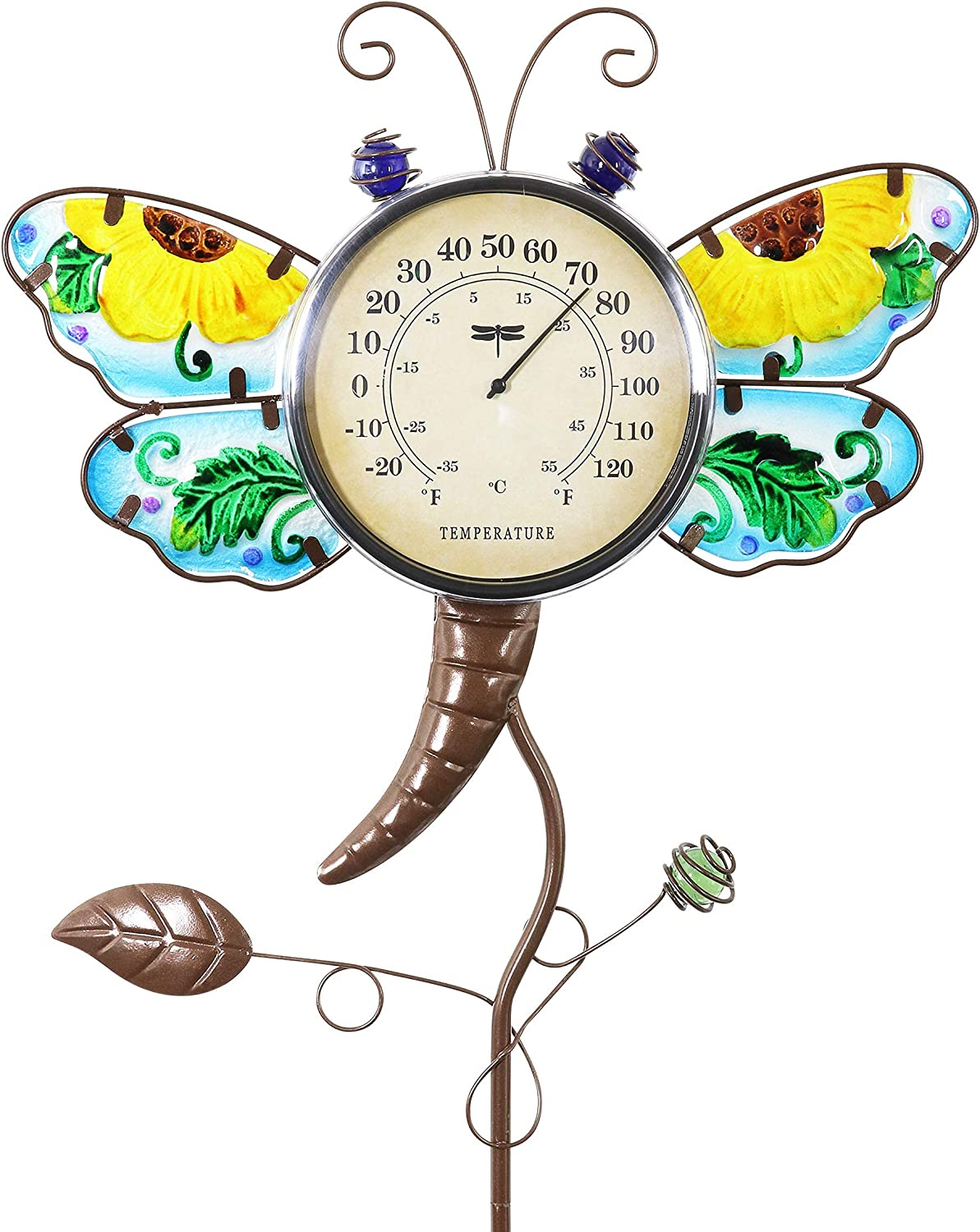"""Dragonfly Thermometer Garden Stake – Dragonfly Decor w/Yellow Flower Glass Wings - Charming Garden Temperature Gauge Decorative Outdoor Thermometer for The Garden, Yard & Patio, 13 x 36"""" JUNJUNNB"""