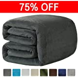 LEISURE TOWN Fleece Blanket Queen Size Soft Summer Cooling Breathable Luxury Plush Travel Camping Blankets Lightweight for Sofa Couch Bed, 90 by 90 Inches, Dark Grey