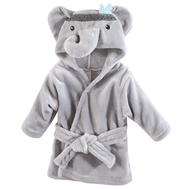 Little Treasure Unisex Baby Plush Bathrobe, Chevron Elephant, One Size: Baby