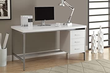 Monarch Hollow Core/Silver Metal Office Desk, 60 Inch, White