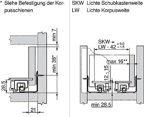 lunghezza nominale 500 mm Guide per sistema ad estrazione totale Movento Blumotion 40 kg Blum 760H5000B