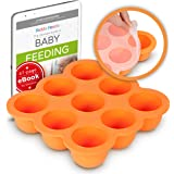 KIDDO FEEDO Baby Food Ice Cube Tray and Storage Container with Silicone Clip-On Lid - Free E-Book by Award-Winning Author/Die