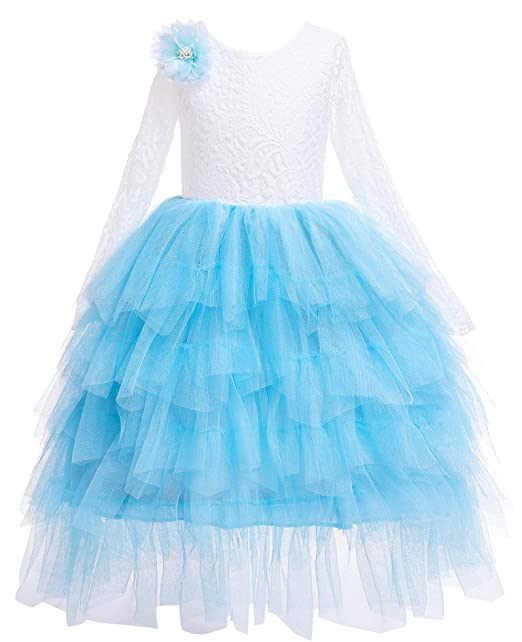 98f3abcffa34d Kokowaii Fancy Girls Lace V Back Flower Dress Tutu Tulle Party Dress  Toddler Fancy Dress