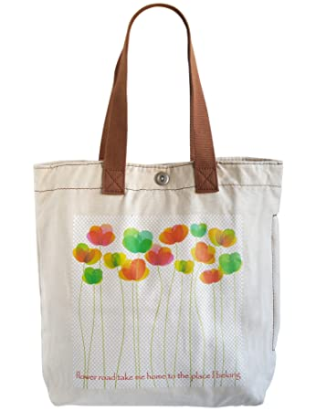 Amazon.com: HOP Multi Pocket Heavy Duty Canvas Tote Bag (Flower ...