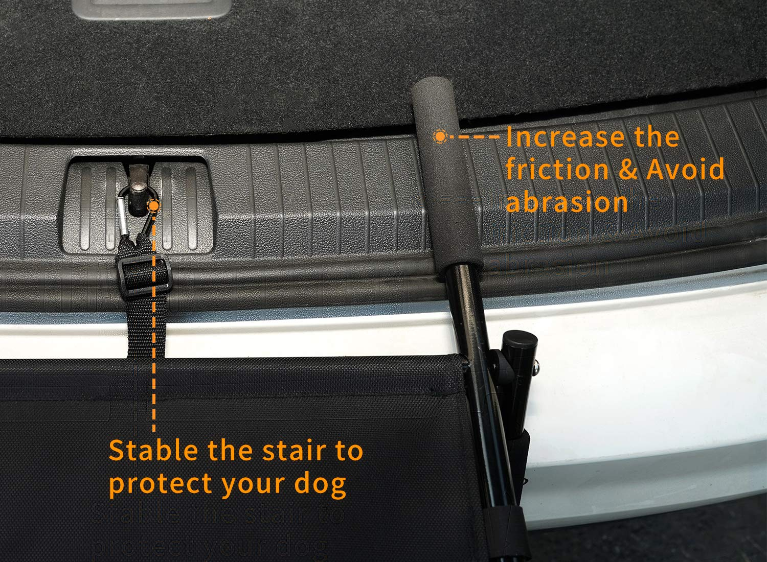 Dog Car Step Stairs Foldable SUKI&SAMI Metal Frame Folding Dog Ramp for Car,Lightweight Portable Large Dog Ladder,for Dogs and Cats,SUVs and Trucks,Couch and Bed,Protect Pets' Joint and Knee by SUKI&SAMI (Image #6)