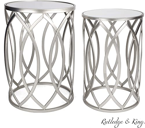Round End Table Set – Silver End Tables with Mirrored Tops – Nesting Round Accent Tables – Silver and Mirrored Metal Side Tables – Rutledge King Blufton End Table Set