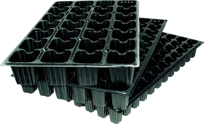 Flower 90063 - Bandeja semilleros, 1 unidad, 28 cavidades cada una, color negro