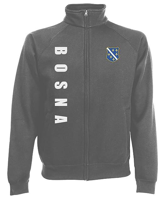 Bosnien Jacke Sweater Royal MOSPA Trikot Look Zip Nation Fussball Sport