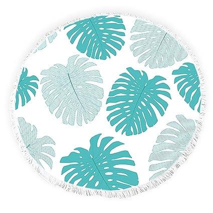 Yun Nist Toallas de playa redondas con borlas de hojas tropicales con flecos, gruesas,