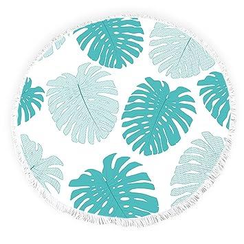 Yun Nist Toallas de playa redondas con borlas de hojas tropicales con flecos, gruesas, para picnic, yoga, alfombra: Amazon.es: Hogar