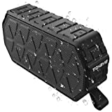 Portable Bluetooth Speaker, ToHayie IPX6 Outdoor Bluetooth Speaker with 10-Hours Playtime, 66-Foot Bluetooth Range & Built-in Mic for iPhone, Samsung and More (Black)