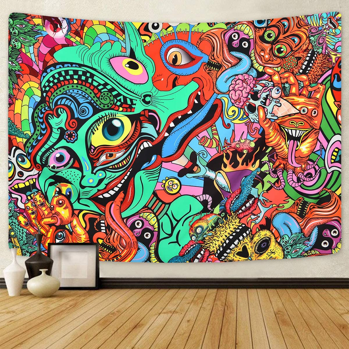 Psychedelic Arabesque Tapestry Abstract Hippie Tapestries Fantasy Trippy Tapestry Fractal Colorful Monster Tapestry for Room 70.9 92.5 inches