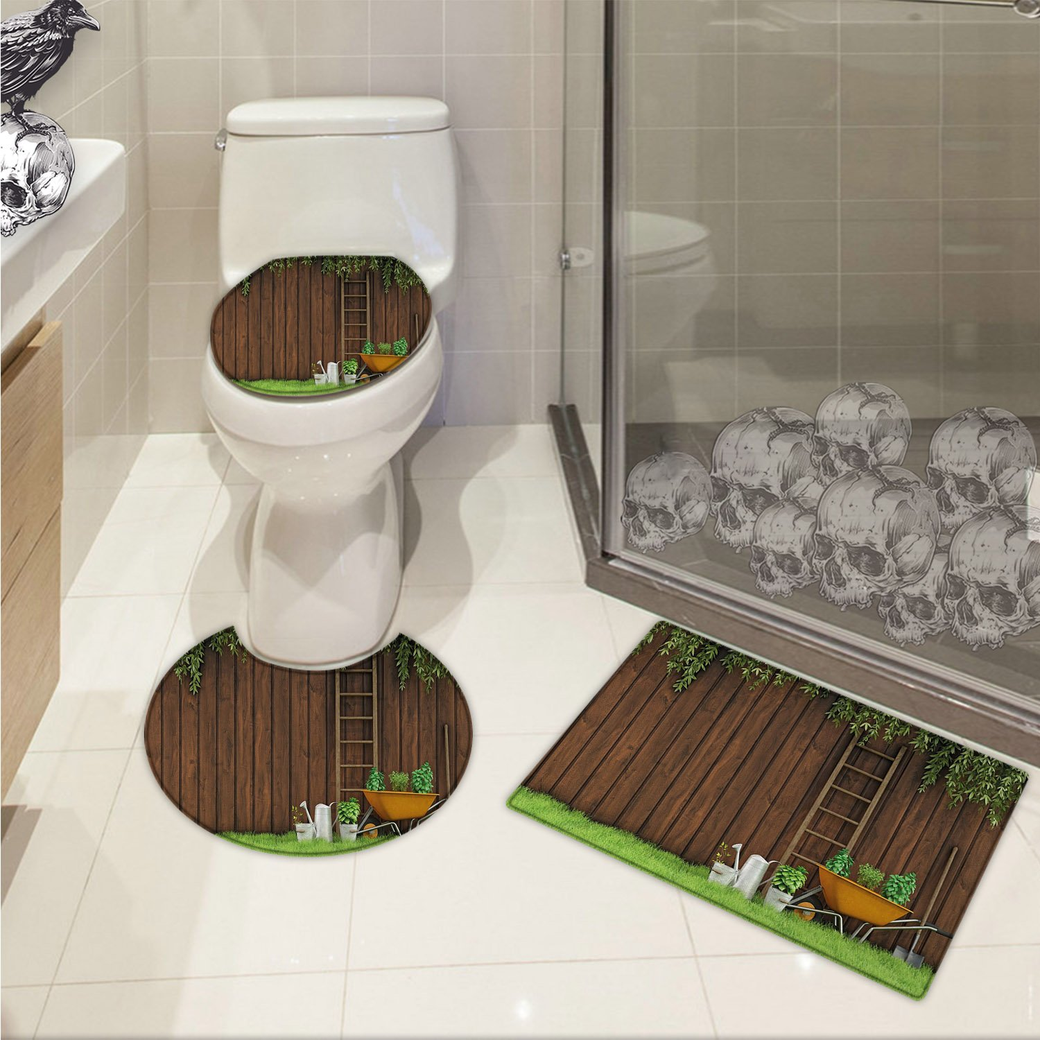 Farmland 3D digital printing Gardening Material Tools on the Backyard with Shovel and Bucket Design Print 3 Piece Shower Mat set Green Brown