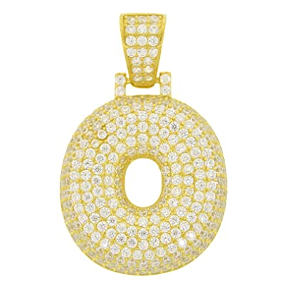 mens yellow gold plated sterling silver round cut cubic zirconia 3d bubble letter o pendant