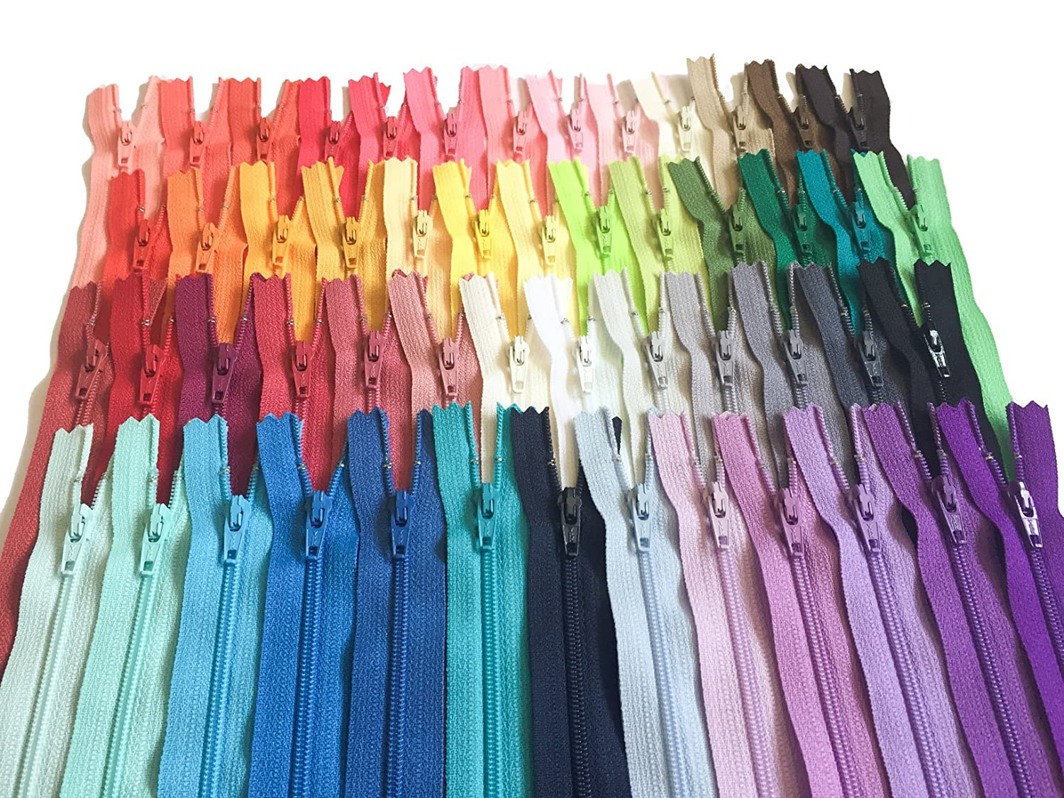 6 Inch Assortment of Colors YKK Zippers Number 3 Nylon Coil Set of 110 Pieces