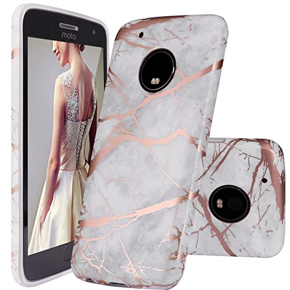 Moto G5 Plus Case, DOUJIAZ Gray Shiny Rose Gold Marble Design Clear Bumper TPU Soft Case Rubber Silicone Skin Cover for Motorola Moto G5 Plus (2017)