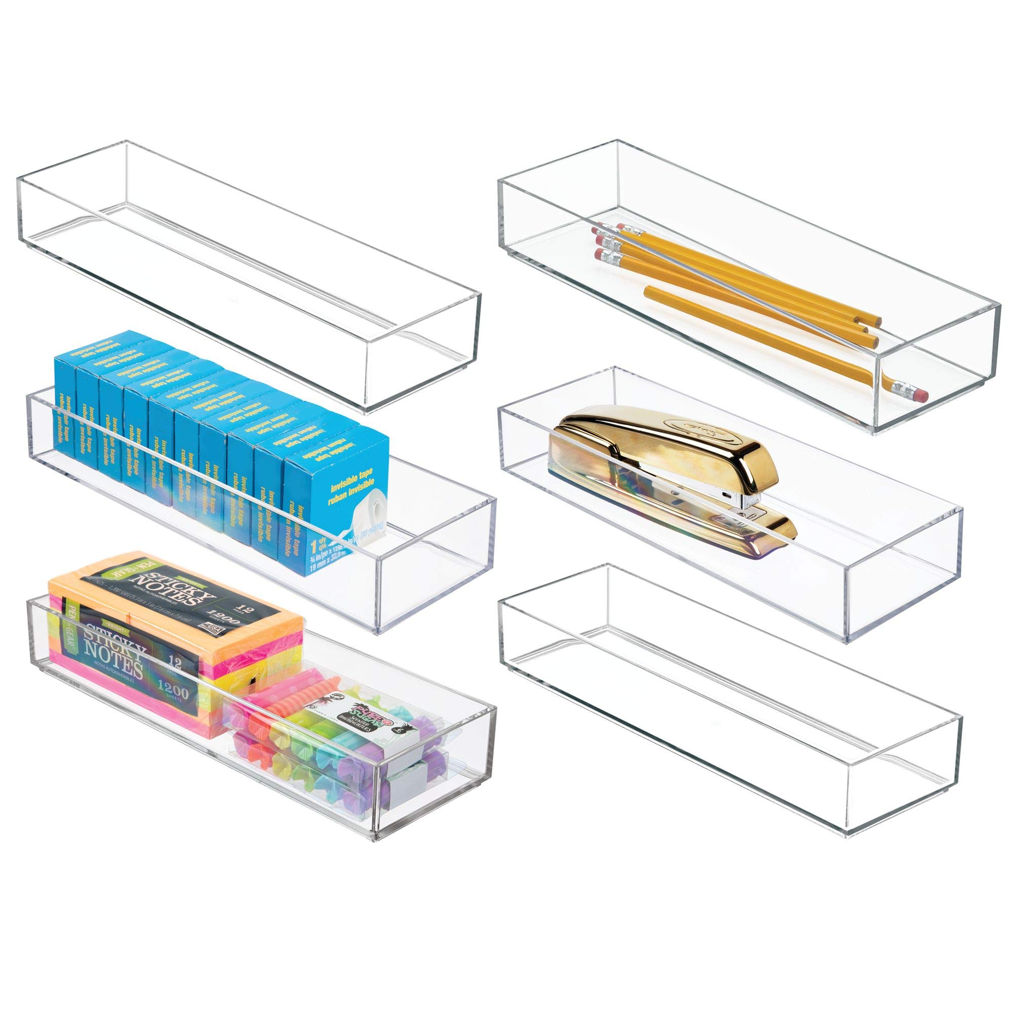 mDesign Stackable Office Desk Drawer Organizer Storage Bins for Gel Pens, Pencils, Staplers, Tape, Erasers - 4'' x 12'' - Pack of 6, Clear