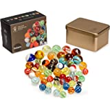 Yellow Mountain Imports Collector's Series Assorted Marbles Set in Tin Box, Solaris