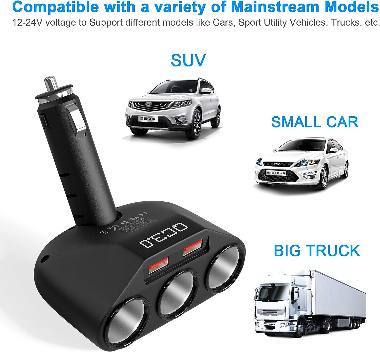 Caricabatteria da Auto con 2 USB 3.0 Quick Charge Output 5V 2.4A per Smartphones//GPS//Dispositivi da Auto Cateck Adattatore Accendisigari con 3 Prese 18W