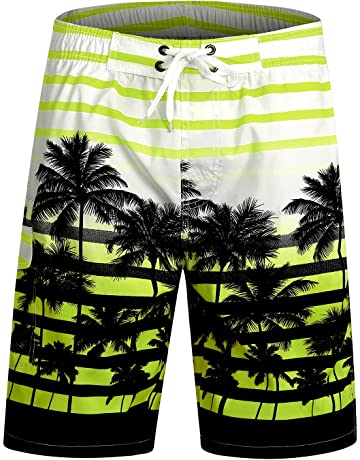 18c25fd664 APTRO Men's Swim Shorts Quick Dry Beach Board Shorts Palm Tree Swimming  Trunks