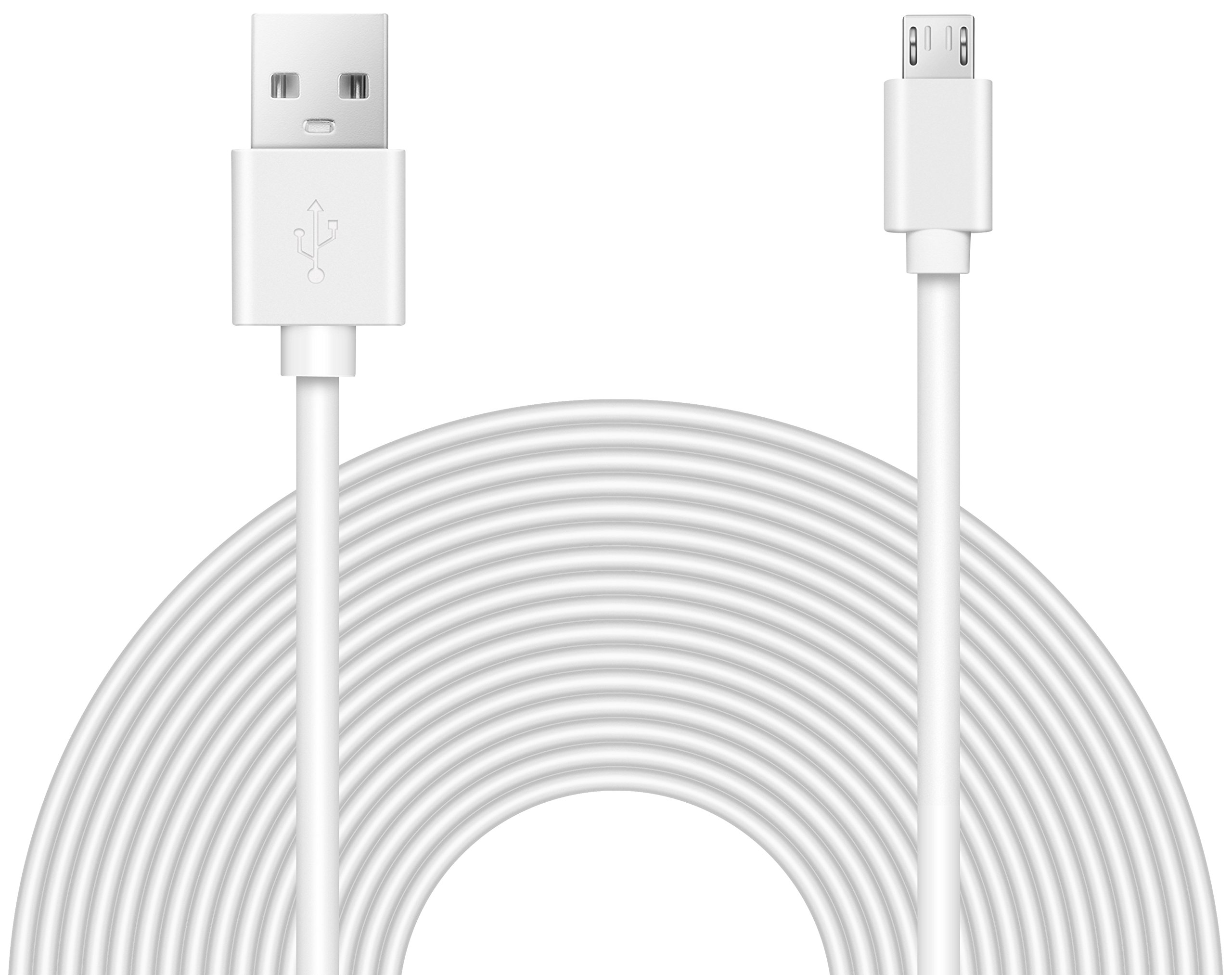 2 Pack 16.4FT Power Extension Cable for Wyze Cam Pan//WyzeCam//Kasa Cam//YI Dome Home Camera//Furbo Dog//Nest Cam//Oculus Go,USB to Micro USB Durable Charging and Data Sync Cord