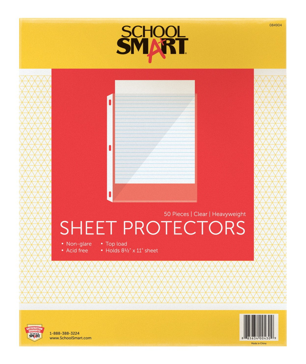 School Smart Top Load Heavyweight Polypropylene Non Glare Sheet Protectors - Pack of 50 - Clear