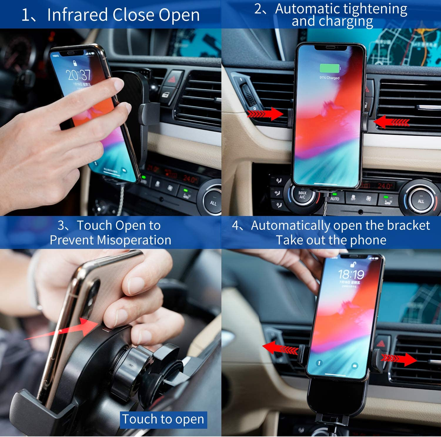 Black Windshield or air Outlet Installation,Suitable for Samsung S10+//S10//S10e//S9+//S9//S8//note8//phone x//xs//xr//xs Max//etc Vehicle Smart Phone Mount Wireless Charging,Infrared Smart Sensor